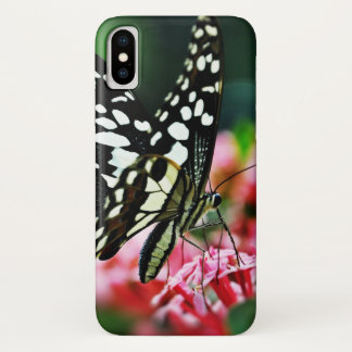 Beautiful Butterfly on Red Flower iPhone X Case