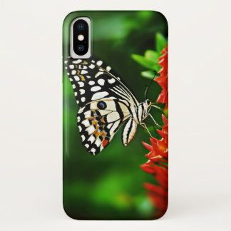 Beautiful Butterfly on Red Flowers iPhone X Case