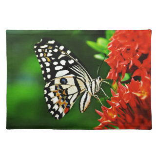 Beautiful Butterfly on Red Flowers Placemats