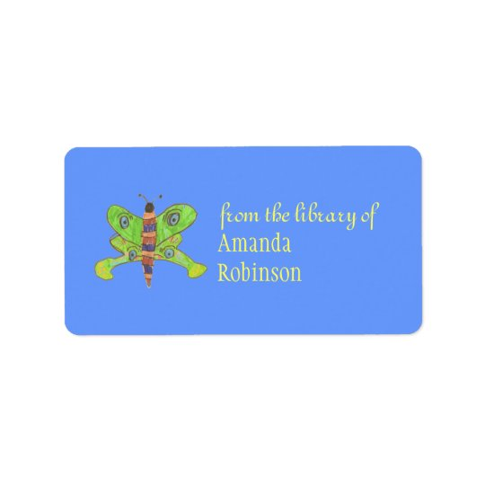Beautiful butterfly personalised bookplate address label