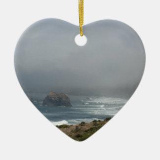 Beautiful California Coast Scenery by the Ocean Ceramic Heart Decoration