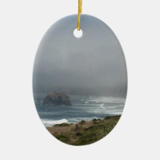 Beautiful California Coast Scenery by the Ocean Ceramic Oval Decoration