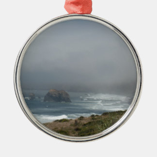 Beautiful California Coast Scenery by the Ocean Silver-Colored Round Decoration