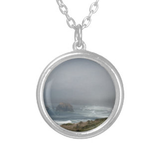 Beautiful California Coast Scenery by the Ocean Silver Plated Necklace