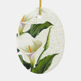 Beautiful Calla Lilies Ceramic Oval Decoration