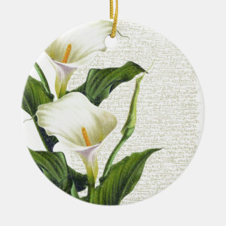 Beautiful Calla Lilies Round Ceramic Decoration