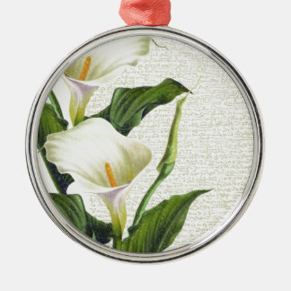 Beautiful Calla Lilies Silver-Colored Round Decoration