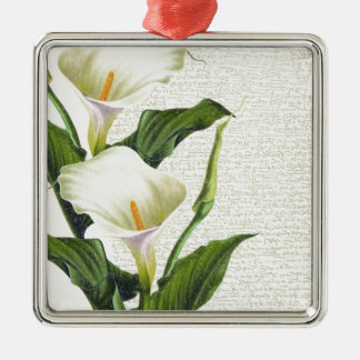 Beautiful Calla Lilies Silver-Colored Square Decoration