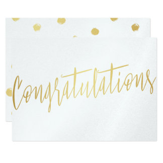 "Beautiful Calligraphy Gold ""Congratulations"" 13 Cm X 18 Cm Invitation Card"