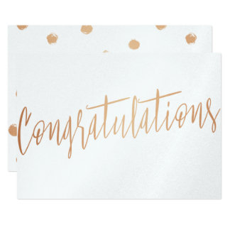 "Beautiful calligraphy gold rose ""Congratulations"" 13 Cm X 18 Cm Invitation Card"