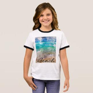 Beautiful Cancun Beach - Digital Watercolor Ringer T-Shirt