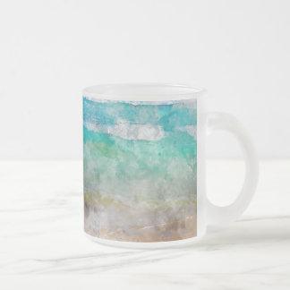 Beautiful Cancun Beach Frosted Glass Coffee Mug