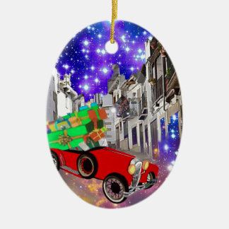 Beautiful car plenty of gifts under starry night ceramic ornament