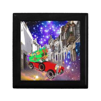 Beautiful car plenty of gifts under starry night gift box