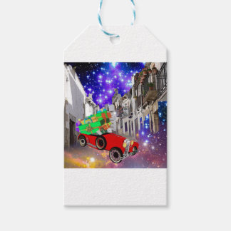 Beautiful car plenty of gifts under starry night gift tags