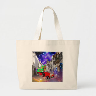 Beautiful car plenty of gifts under starry night large tote bag