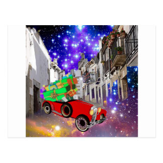 Beautiful car plenty of gifts under starry night postcard