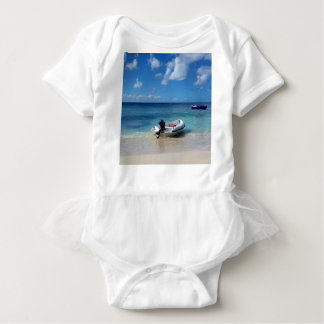 Beautiful Caribbean Beachscape Boat Photography Baby Bodysuit