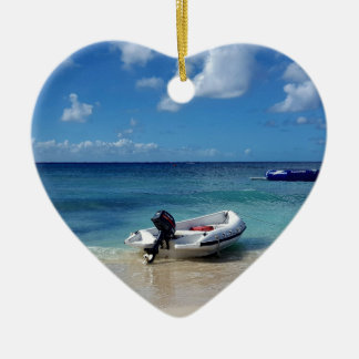 Beautiful Caribbean Beachscape Boat Photography Ceramic Ornament