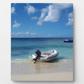 Beautiful Caribbean Beachscape Boat Photography Display Plaque