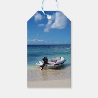 Beautiful Caribbean Beachscape Boat Photography Gift Tags