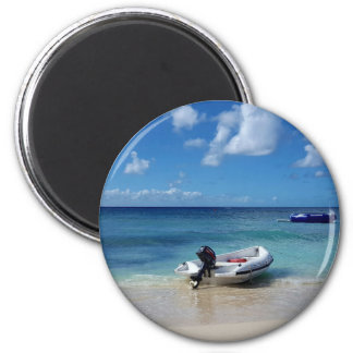 Beautiful Caribbean Beachscape Boat Photography Magnet