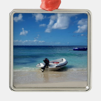Beautiful Caribbean Beachscape Boat Photography Metal Ornament