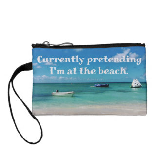 Beautiful Caribbean Beachscape Humorous Quote Coin Purses