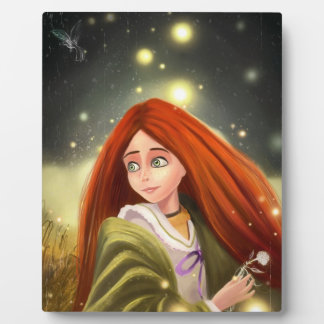 beautiful cartoon red haired girl Plaque