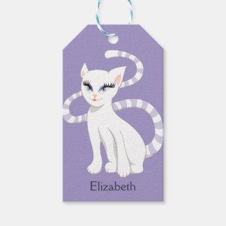 Beautiful Cartoon White Cat Gift Tags