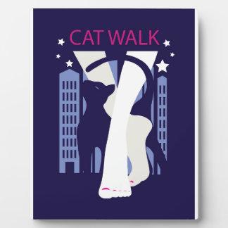 Beautiful cat walk. Art deco stylish illustration Plaque