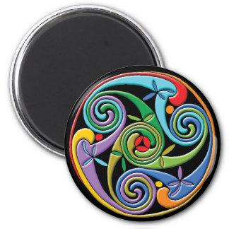 Beautiful Celtic Mandala with Colorful Swirls 6 Cm Round Magnet