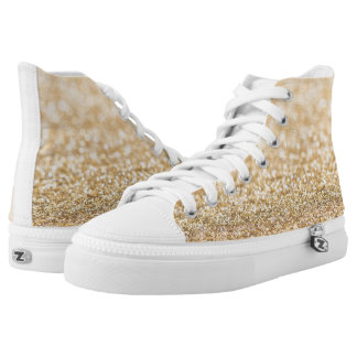 Beautiful champagne gold glitter sparkles high tops