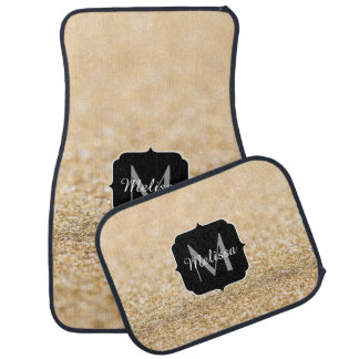Beautiful champagne gold glitter sparkles Monogram Car Mat