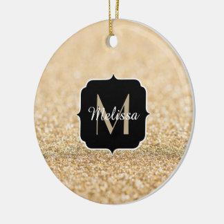 Beautiful champagne gold glitter sparkles Monogram Ceramic Ornament