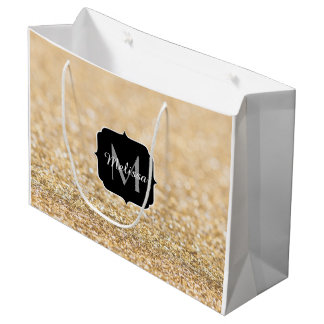 Beautiful champagne gold glitter sparkles Monogram Large Gift Bag
