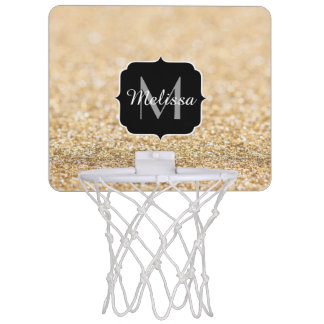 Beautiful champagne gold glitter sparkles Monogram Mini Basketball Hoop