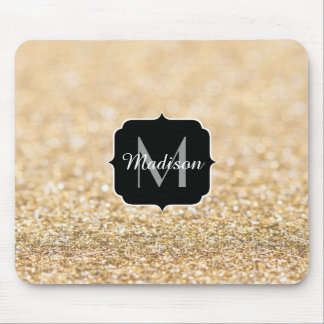 Beautiful champagne gold glitter sparkles Monogram Mouse Pad