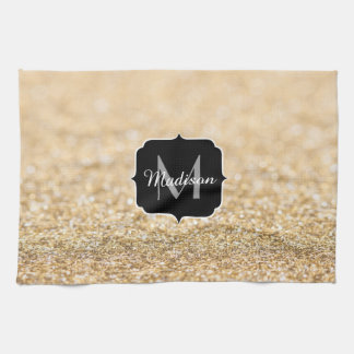 Beautiful champagne gold glitter sparkles Monogram Tea Towel