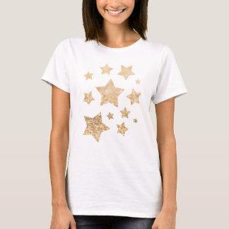 Beautiful champagne gold glitter sparkles Stars T-Shirt