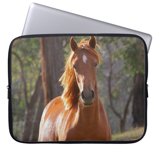 Beautiful chestnut horse photo portrait, gift laptop sleeve