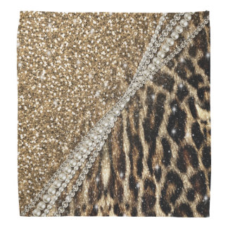 Beautiful chic girly leopard animal faux fur print bandanna