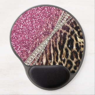 Beautiful chic girly leopard animal faux fur print gel mouse pad