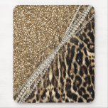 Beautiful chic girly leopard animal faux fur print mouse pad