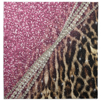 Beautiful chic girly leopard animal faux fur print napkin