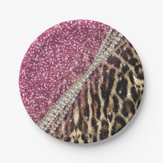 Beautiful chic girly leopard animal faux fur print paper plate
