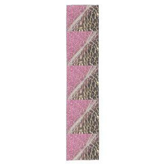 Beautiful chic girly leopard animal faux fur print short table runner