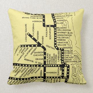 Beautiful Chicago Pride Subway Train Stops Vintage Cushion