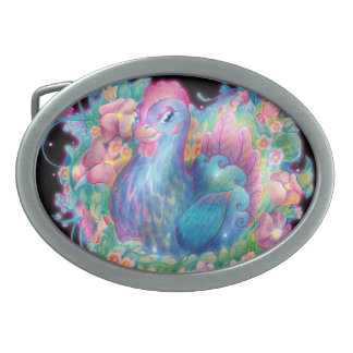 Beautiful Chicken and Flowers Belt Buckles