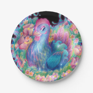Beautiful Chicken and Flowers Paper Plate